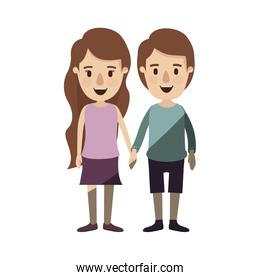 light color shading caricature front view full body couple in casual clothing