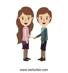 light color shading caricature side view full body couple in casual clothing handshake