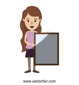 light color shading caricature full body woman holding a square poster