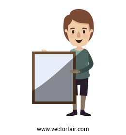 light color shading caricature full body man holding a square poster