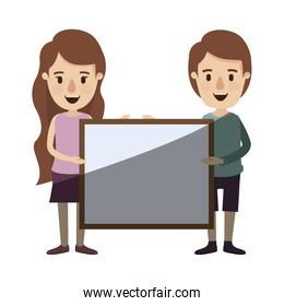 light color shading caricature full body couple holding a square poster