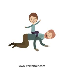 light color shading caricature bearded father with boy playing the horse on his back