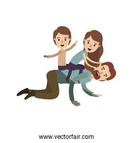 light color shading caricature bearded father with children playing the horse on his back
