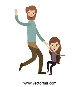 light color shading caricature bearded father with girl dancing