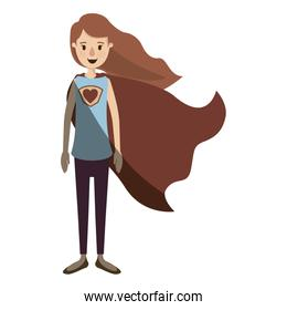 light color shading caricature full body super hero woman with wavy long hair and cap