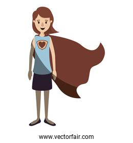 light color shading caricature full body super hero woman with short hair and cap