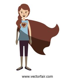 light color shading caricature full body super hero woman with ponytail hair and cap