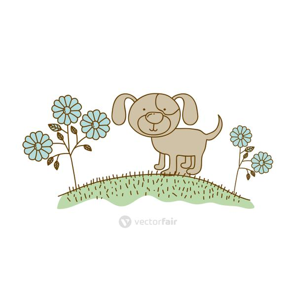 watercolor hand drawn silhouette of dog in hill with plants