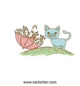 watercolor hand drawn silhouette of cat in hill and umbrella with plants