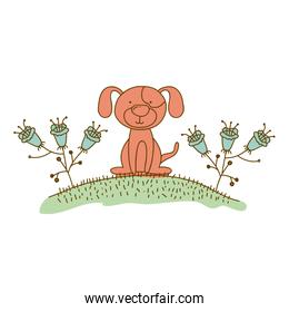 watercolor hand drawn silhouette of dog sitting in hill with plants