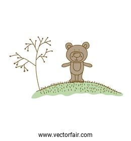 watercolor hand drawn silhouette of bear in hill with plants