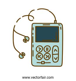 light colored hand drawn silhouette of portable music device