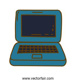 light colored hand drawn silhouette of laptop computer