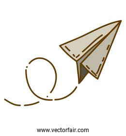 light colored hand drawn silhouette of paper plane