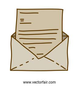light colored hand drawn silhouette of envelope mail opened