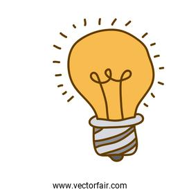 light colored hand drawn silhouette of light bulb