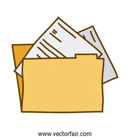 light colored hand drawn silhouette of folder with documents
