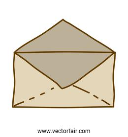 light colored hand drawn silhouette of envelope