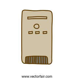 light colored hand drawn silhouette of desktop tower computer