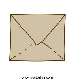 light colored hand drawn silhouette of closed envelope