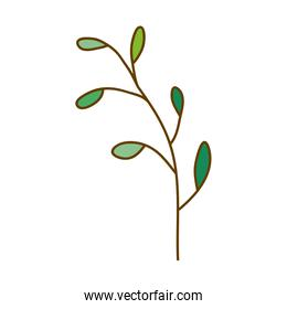 light colored hand drawn silhouette of branch with leaves