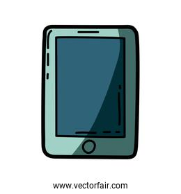 light colored hand drawn silhouette of tablet device with half shadow