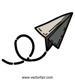 light colored hand drawn silhouette of paper plane with half shadow