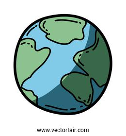 light colored hand drawn silhouette of map world sphere with half shadow