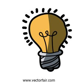 light colored hand drawn silhouette of light bulb with half shadow
