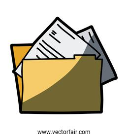 light colored hand drawn silhouette of folder with documents with half shadow