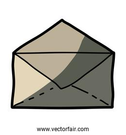 light colored hand drawn silhouette of envelope with half shadow