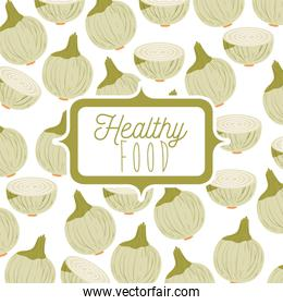 colorful poster of healthy food with background pattern of onions