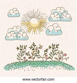 watercolor landscape of plants in hill in sunny day