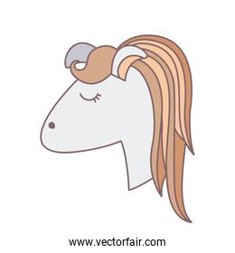 light colors of face side view of female horse with striped mane