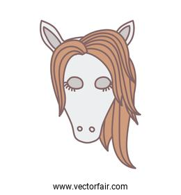 light colors of front face of female horse with closed eyes and mane