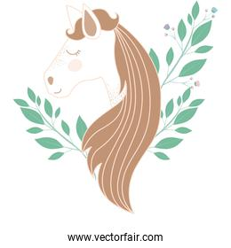 light colors of female horse face with floral decoration