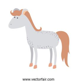 light colors of cartoon horse with freckles and standing