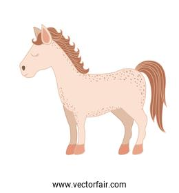light colors of cartoon horse standing with closed eyes