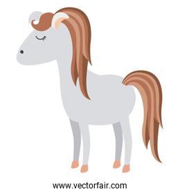 light colors of cartoon female horse with mane and tail striped