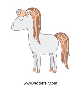 light colors of cartoon female horse with colorful mane and tail