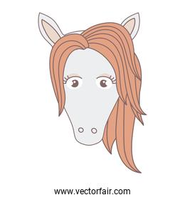 light colors of front face of female horse with mane