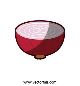 light colors of middle red beet with thick contour