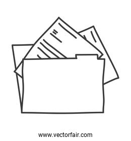 monochrome contour of folder with documents