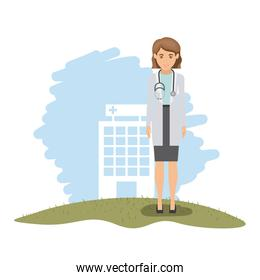 color landscape with hospital of background and female doctor with stethoscope
