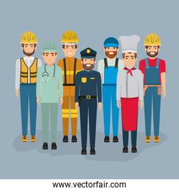 color background with group of men of different professions