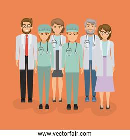 color background with group of medical professional