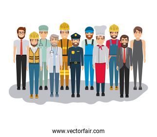white background with big group of men of different professions