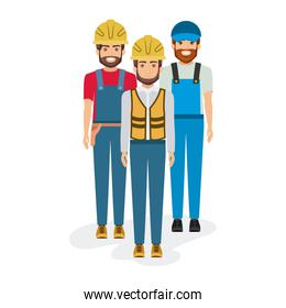 white background with group of builders workers