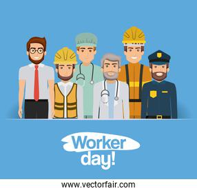 blue clear card with group of male workers on worker day