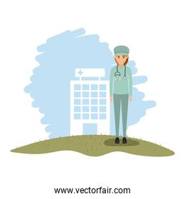 color landscape with hospital of background and female surgeon